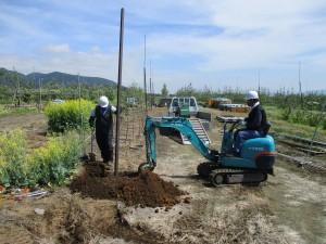 固定式散水施設の更新 施工中(1)